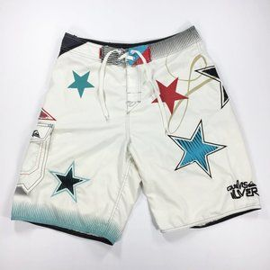 Quiksilver White Star USA Board Shorts 31 Vintage